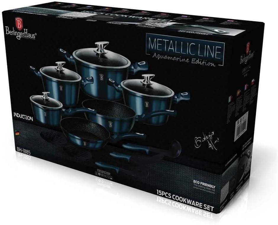 15 pcs cookware set Metallic Line Aquamarine Edition BH//1885