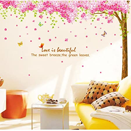 Rainbow Fox Large Pink Sakura Flower Cherry Blossom Tree Wall Sticker Decals  PVC Removable Wall Decal