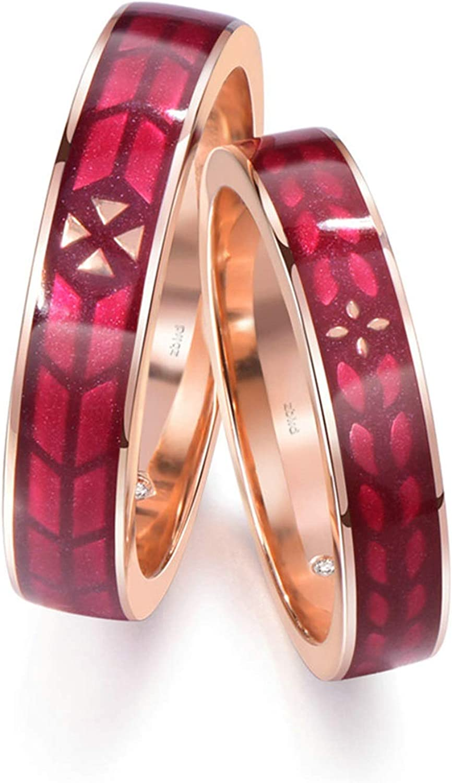 AnazoZ Anillos 1Par Anillos Parejas Oro Rosa 18K Anillos Redondo con Esmalte Diamante Blanco 0.004ct Oro Rosa