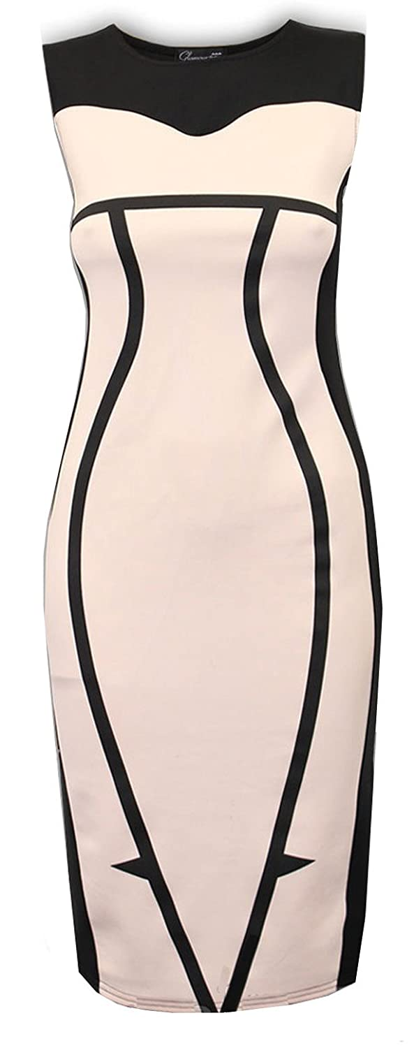 Crazy Girls Women's Optical Illusion Fitted Bodycon Mini Dress