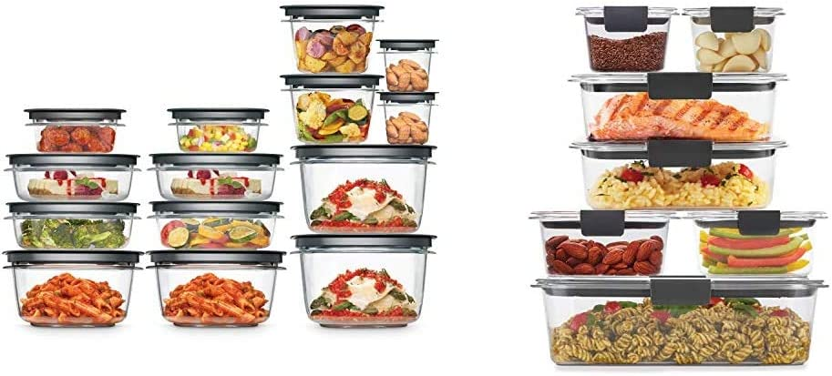 Rubbermaid Meal Prep Premier Food Storage Container, 28 Piece Set, Grey & Brilliance Storage 14-Piece Plastic Lids | BPA Free, Leak Proof Food Container, Clear