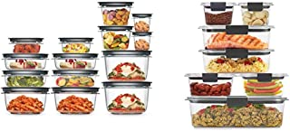product image for Rubbermaid Meal Prep Premier Food Storage Container, 28 Piece Set, Grey & Brilliance Storage 14-Piece Plastic Lids | BPA Free, Leak Proof Food Container, Clear