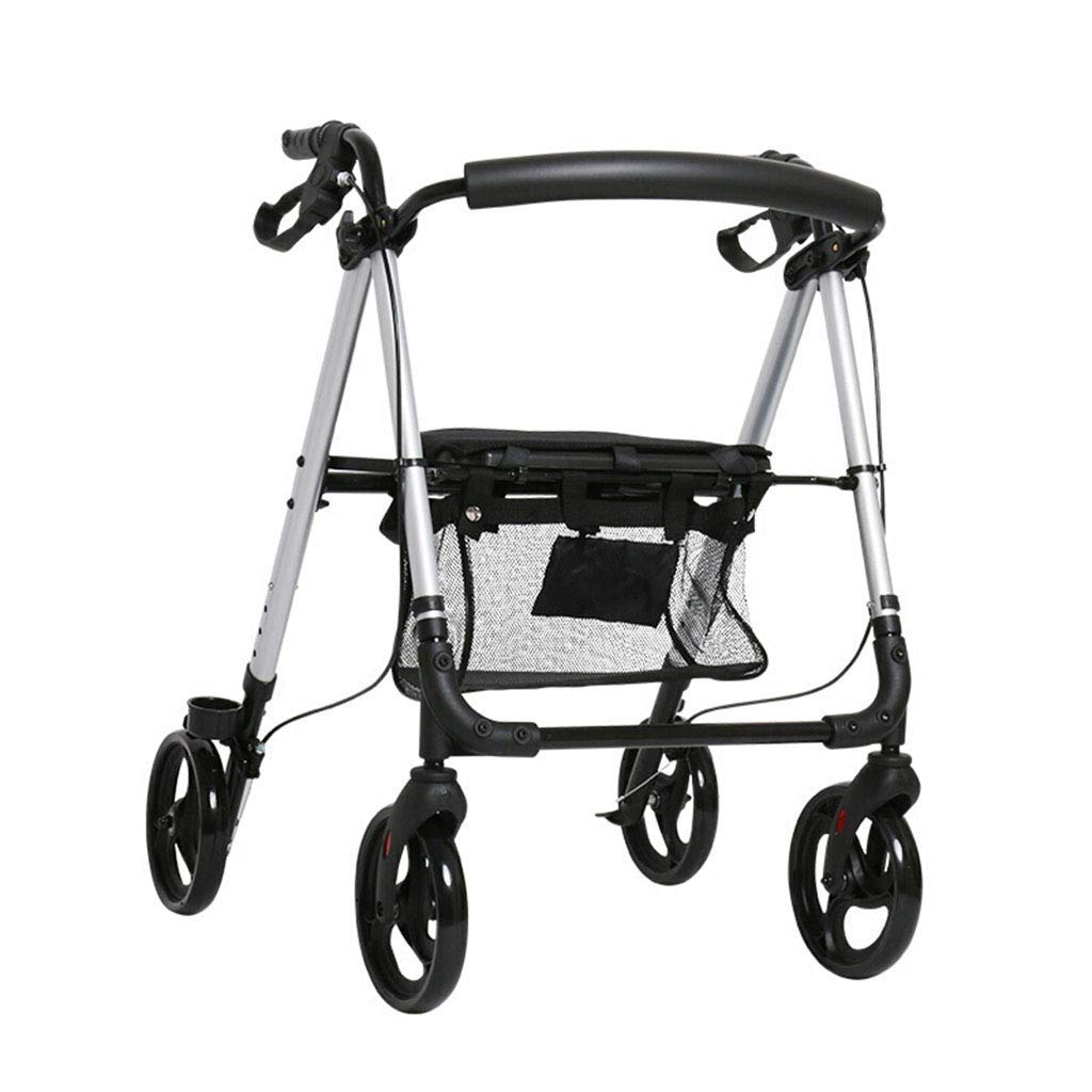 Medical Walker Rollator with Seat,Portable Folding Old Man Shopping Trolleys,Large Wheels, Brakes, Backrest, Basket for Seniors Indoor Outdoor use PNYGJZXQ by PNYGJZXQ