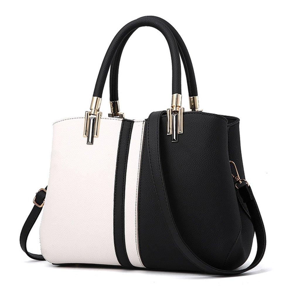 Tibes Top-Handle Handbag Stitching Purse for Women Girls Black