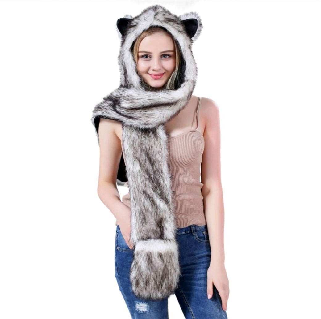 d19ed3fe79e Amazon.com  Husky Full Hood Animal Hat Faux Fur with fleece lined interior   Toys   Games