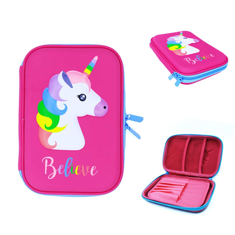 Cute Pink Unicorn Pencil Case for School Girls - Pencil Pouch Stationery Box with Compartments for Pencils, Colored Pen, Crayon