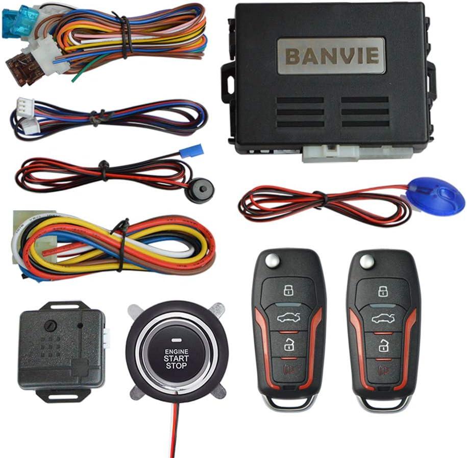 BANVIE ① Car Keyless Entry Security Alarm System + ② Remote Engine Starter + ③ Push to Start Stop Iginition Kit Button
