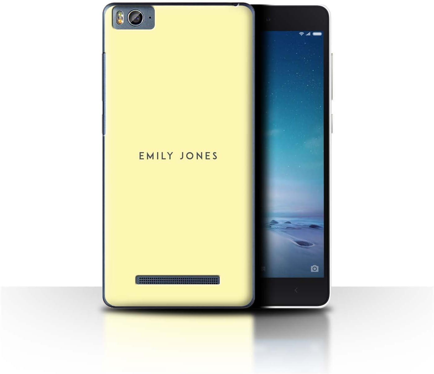 Stuff4 Personalizado Sello Pastel Personalizar Funda para el Xiaomi Mi 4C / Amarillo Diseño/Inicial/Nombre/Texto Carcasa/Estuche/Case