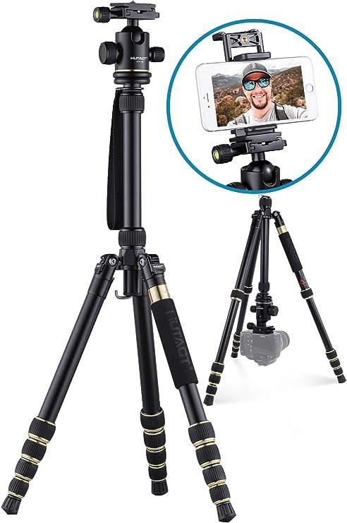 Camera Tripod,Professional Lightweight Aluminum Alloy Adjustable Camera Tripod Detachable SLR Monopod