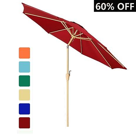 9 Ft Outdoor Table Aluminum Patio Umbrella Market Umbrella With Push Button  Tilt And Crank,