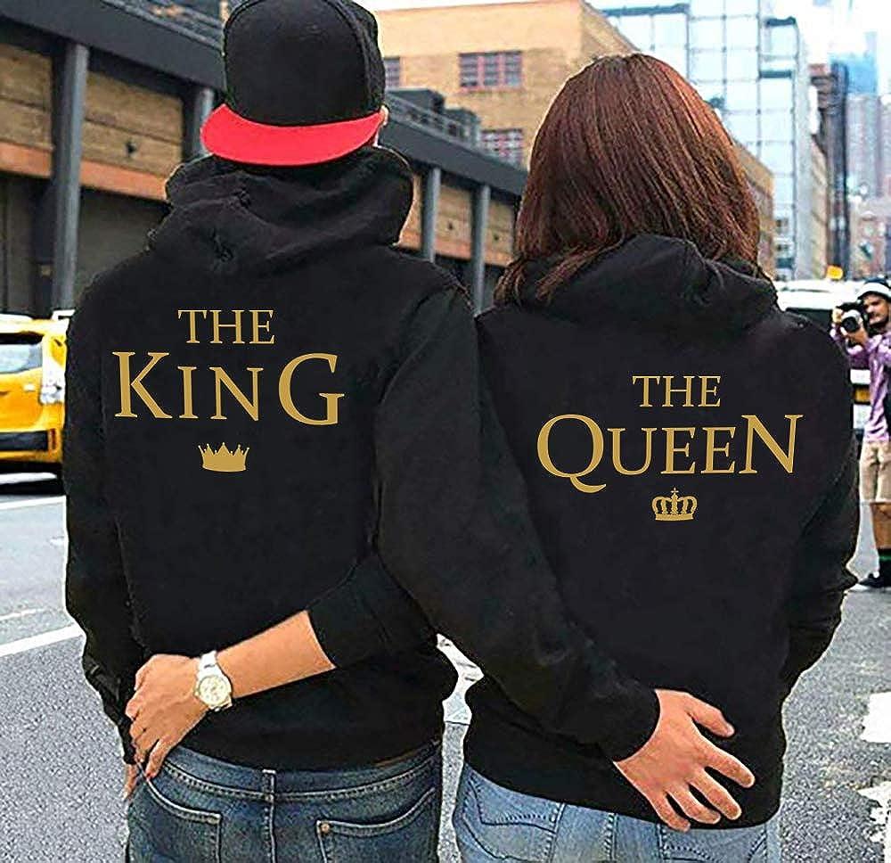 AJUN shop P/ärchen Hoodie Set King Queen Pullover f/ür Zwei Kapuzenpullover f/ür Paare Paar Valentinstag Partner Geschenke Partnerlook Liebespaar Couple Mr Mrs Schwarz Grau Gold