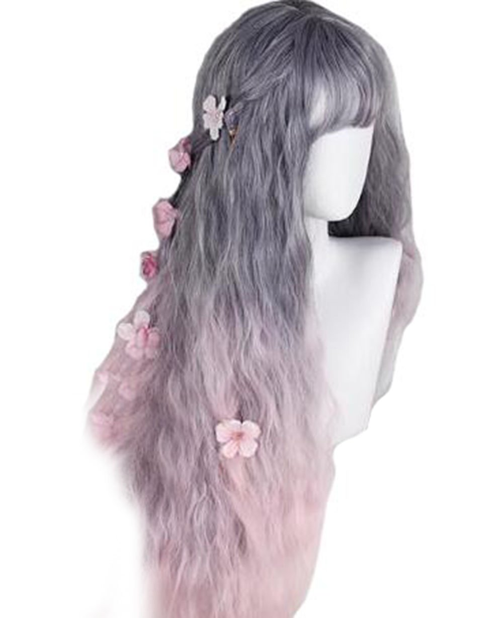 Women's Long Wavy Curly Wigs Grey Pink Ombre 2 Tone Lolita Wig Heat Resistant Synthetic Wigs for Costume Party Cosplay