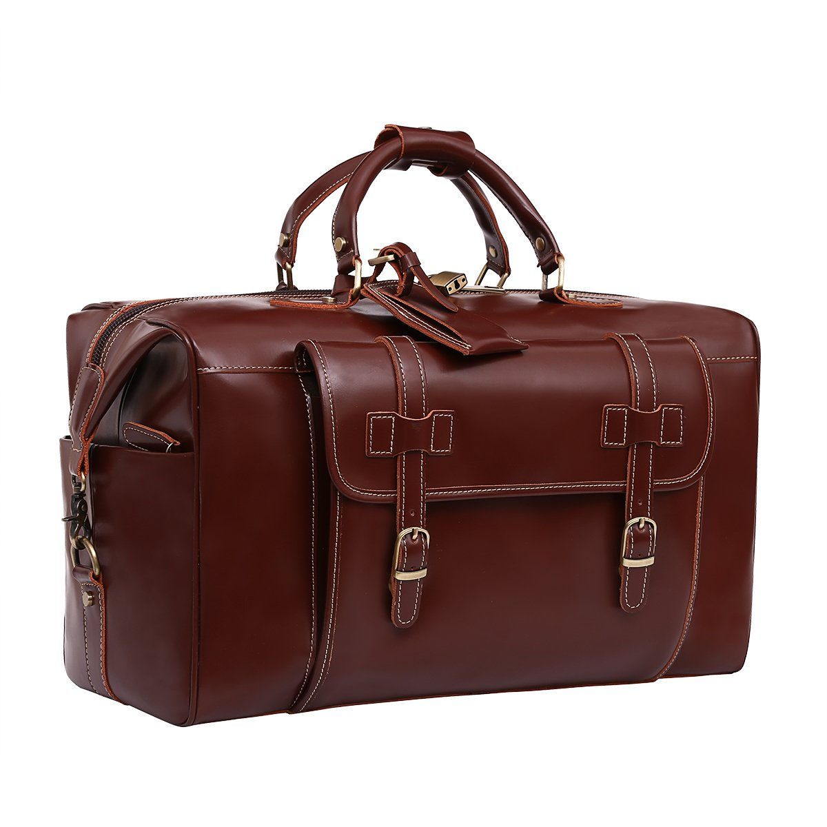 Leathario Mens Genuine Leather Overnight Travel Duffle Weekend Bag Brown by Leathario