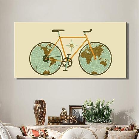 tzxdbh Cartel de Rueda de Bicicleta y réplica en el Mapa Mundial ...