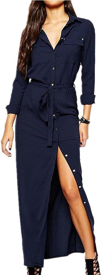 Moda Long Maxi Larga Largo Shirt Camisero Camiseta Camisa Vestido con Bolsillos Collar en la Parte Delantera Aberturas Self Waist Tie Azul marinoe