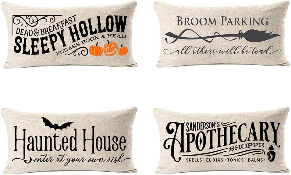 MFGNEH Sleepy Hollow Halloween Pillow Covers 12x20 Set of 4,Halloween Decorations Haunted House Bat Broom Cotton Linen Cushion Covers,Halloween Decor