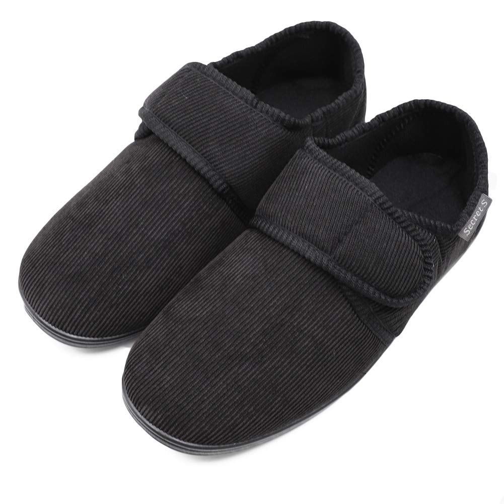 Men's Memory Foam Diabetic Slippers with Adjustable Closures, Extra Wide Width Comfy Warm Corduroy Arthritis Edema Swollen House Shoes Indoor/Outdoor