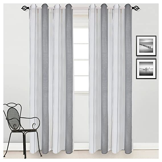 Awesome Amazon.com: HONTOD Grey Stripe White Sheer Voile Window Curtain Panel For Living  Room: Home U0026 Kitchen