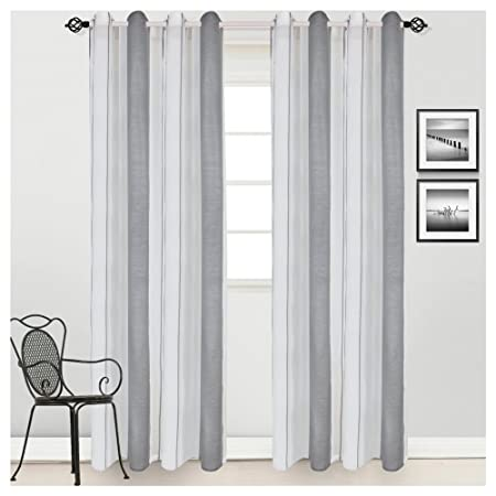 Phrase brilliant Striped white sheer panel curtains