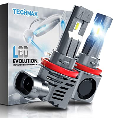 TECHMAX H11 LED Headlight Bulb,Small Design 60W 10000Lm 6500K Xenon White ZES Chips Extremely Bright H8 H9 Conversion Kit of 2: Automotive