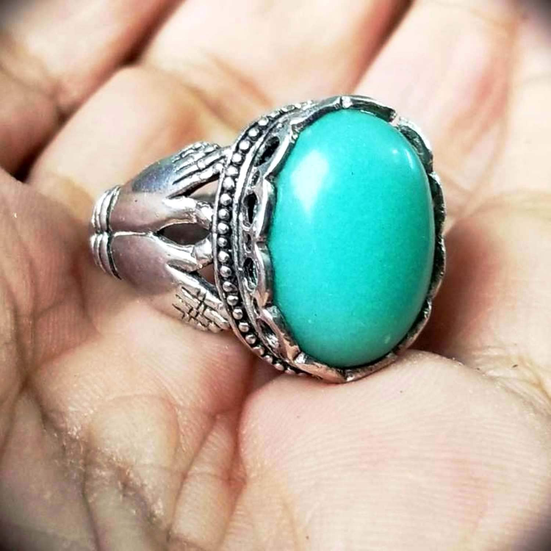 unique hand grave 925 sterling silver mens ring genuine glow in dark green light