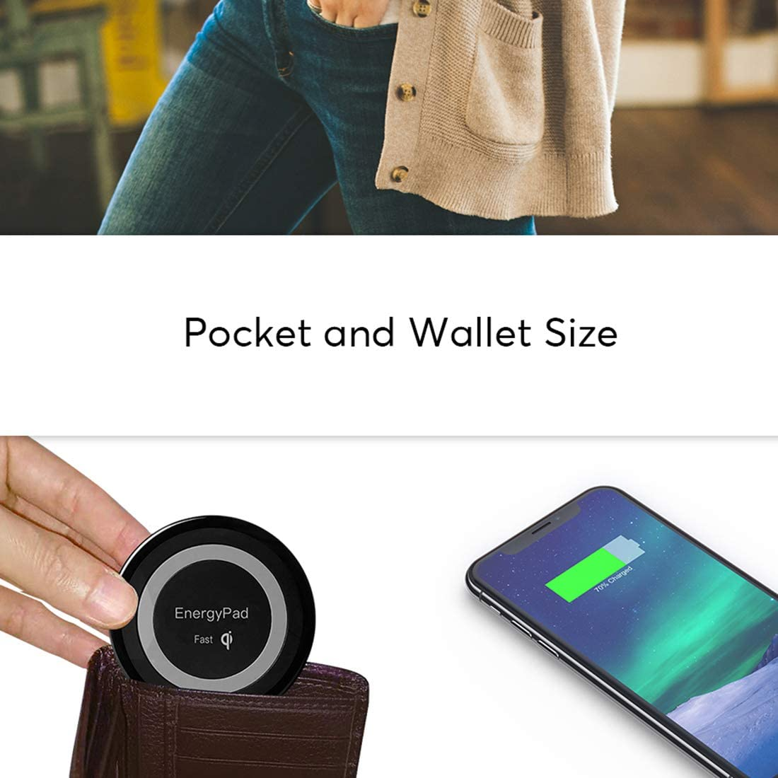 10W Qi-Certified Ultra-Slim IP67 Waterproof Wireless Charging Pad,/Compatible with iPhone X//XS Max//XR//XS//8 Urlitoy Wireless Charger Fast-Charging Samsung Galaxy S9//S8//S7 More No AC Adapter White