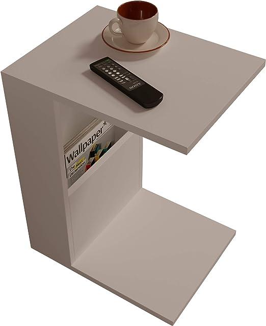 Materiale in Legno Tavolino da caff/è Moderno in Un Design alla Moda con mensola Bianco HOMIDEA Bono Tavolino Basso da Salotto con Ruote Tavolino da Divano