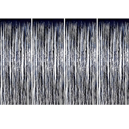 Sumind 4 Pack Foil Curtains Metallic Fringe Curtains Shimmer Curtain for Birthday Wedding Party Christmas Decorations (Black)