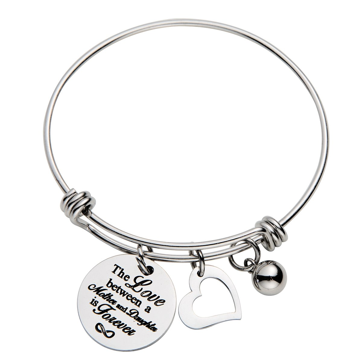 omodofo Mother's Day Gift The Love Between A Mother and Daughter is Forever Inspirational Messaged Adjustable Cuff Bracelet