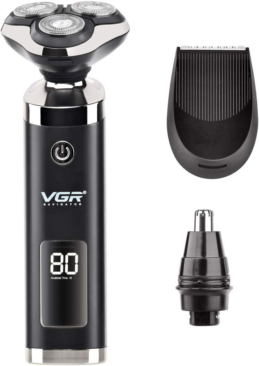 Afeitadora Eléctrica para Hombres, 3 en 1 USB Recargable Máquina de Afeitar Rotativa Recortador de Barba Recortador de Nariz, Cabeza Flotante 3D Completamente Lavable