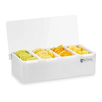 Royal Catering Caja Para Condimentos Condimento Dispensador RCCBP 4 (Acero inoxidable, 4 envases,