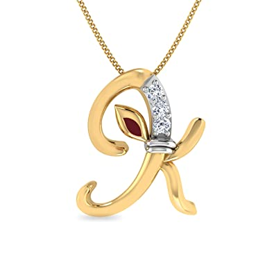 5787f7c0f Buy PC Jeweller The Initial K Ganesha 18KT Yellow Gold & Diamond Pendant  Online at Low Prices in India | Amazon Jewellery Store - Amazon.in