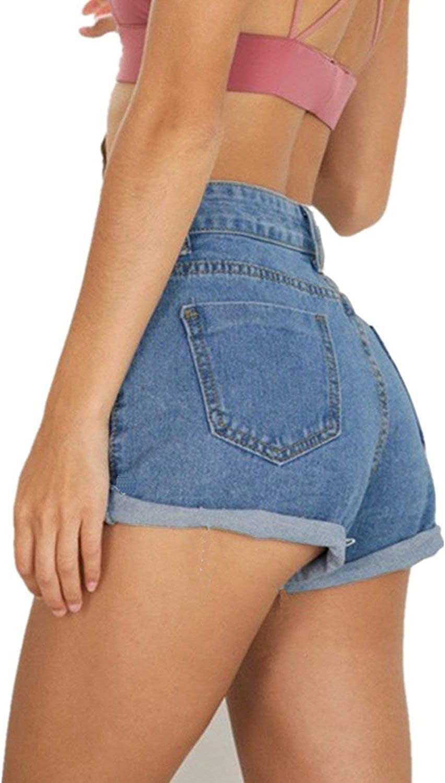 GOLDSTITCH Womens Juniors Vintage Denim High Waisted Jeans Shorts