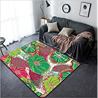 Vanfan Design Home Decorative 78284074 Abstract seamless vector texture with bright flowers Modern Non-Slip Doormats Carpet for Living Dining Room Bedroom Hallway Office Easy Clean Footcloth