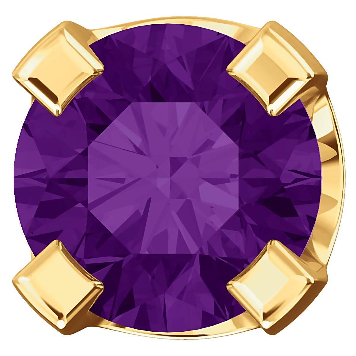 Trustmark Yellow Gold 3mm Natural Purple Amethyst Screw Back Stud Earrings