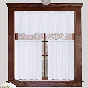 Valea Home Water Repellent Valance and Curtains Set for Bathroom Window