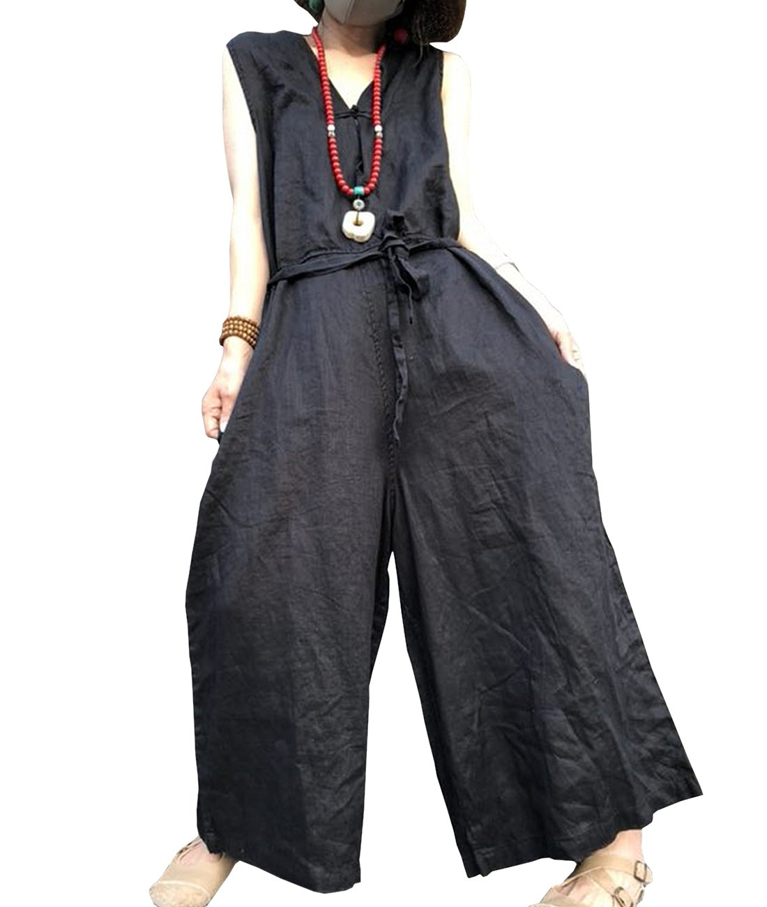 YESNO p91レディースオーバーオールジャンプスーツ100 %コットンカジュアル刺繍Distressed Boyfriend Wide Leg B07F2WWYXZ Medium|Pl3 Black Pl3 Black Medium