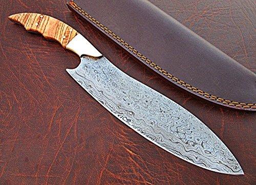 CFZ - 1140, Custom Handmade Damascus Steel 12.40 Inches Chef Knife - Beautiful Burrel Wood Handle with Brass Bolster