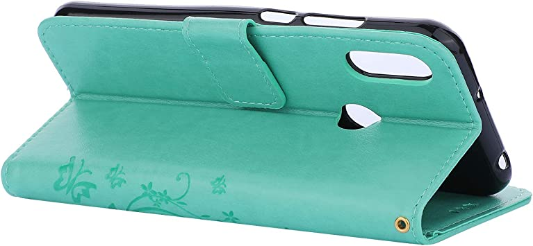 Embossed Butterfly Notebook Flip PU Leather Wallet Case with Soft Folio Protective Skin Cover Green For Huawei Y6 2019 Case Hand Strap Kickstand Card Slots Wrist Strap
