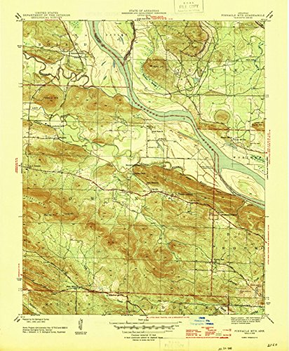 Arkansas Maps | 1943 Pinnacle Mtn, AR USGS Historical Topographic Map |Fine Art Cartography Reproduction - Ar Pinnacle