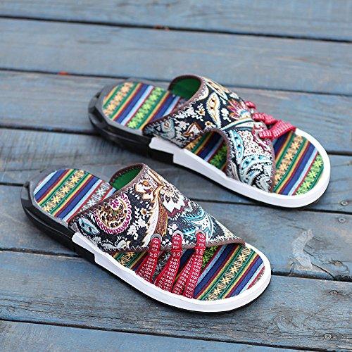 Xing Lin Sandalias De Cuero Zapatillas De Verano Verano Macho Ranurado Antideslizante Y Calzado De Playa Marea Del Hombre Sandalias Hombre De Gran Fresco Viento Étnicos Zapatillas Zapatos De Tela Retr