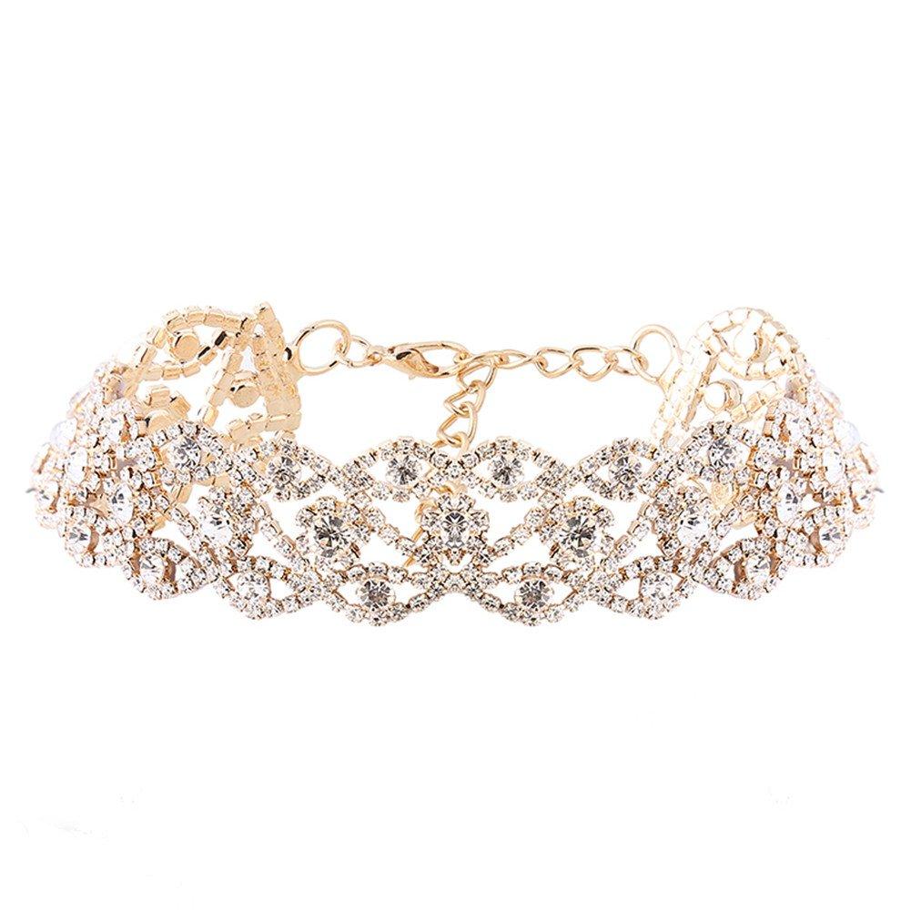 JuanYa Damen Klassike Elegante Strass Kristall Kragen Choker Halsketten Vintage Halsschmuck für Hochzeit, Gold Juanya-N668