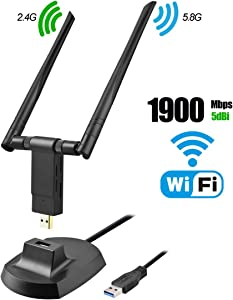 USB WiFi Adapter, 1900Mbps Dual Band 2.4GHz/600Mbps 5.8GHz/1300Mbps High Gain 5dBi Antennas USB 3.0 Wireless Network Adapter for PC Desktop Laptop with Windows 10/8/7/XP/Vista, Mac OS