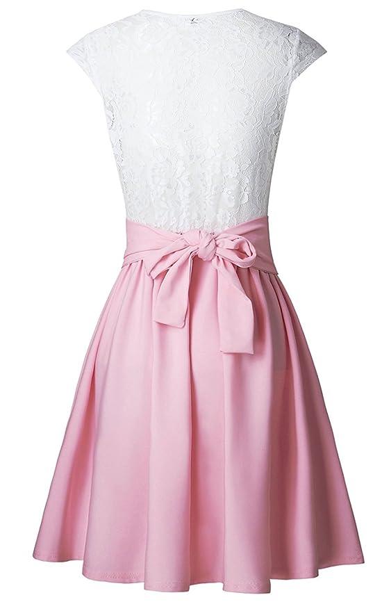 Minetom Mujeres Verano Mini Vestido Dress Moda Mangas Corta Blanco Tops De Encaje De Empalme Falda Plisada Elegante Cuello Redondo Cóctel Rosa ES 42: ...