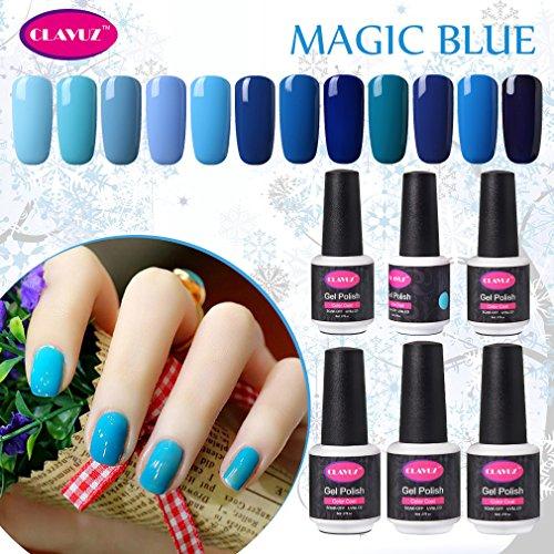CLAVUZ 12pcs Gel Nail Polish Set Magic Blue Color Collection Soak Off Gel Nail Lacquer Nail Art Manicure High-gloss 8ml New Starter Christmas Gift Kit