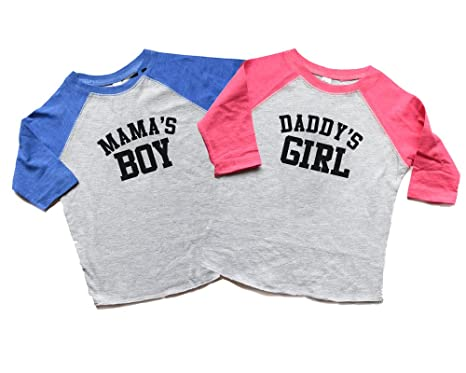 280c44b2ef2e7 Amazon.com: Twin Boy/Girl Mama's Boy/Daddy's Girl Shirts Baby/Toddler Gift  for Twins Trendy Raglan Tees Mother's/Fathers Day: Clothing