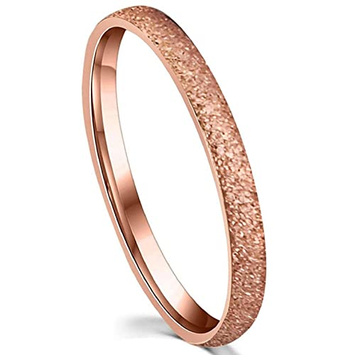 15a370b6ac1 Image Unavailable. Image not available for. Color  LOVE Beauties Brand New  2mm Women s Titanium Rose Gold Wedding Band Ring 5.5