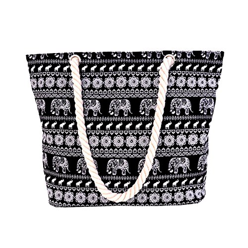 with Zipper Beach THEE Handles Inner with Bag Rope Black Tote Pocket q0BIwBnd