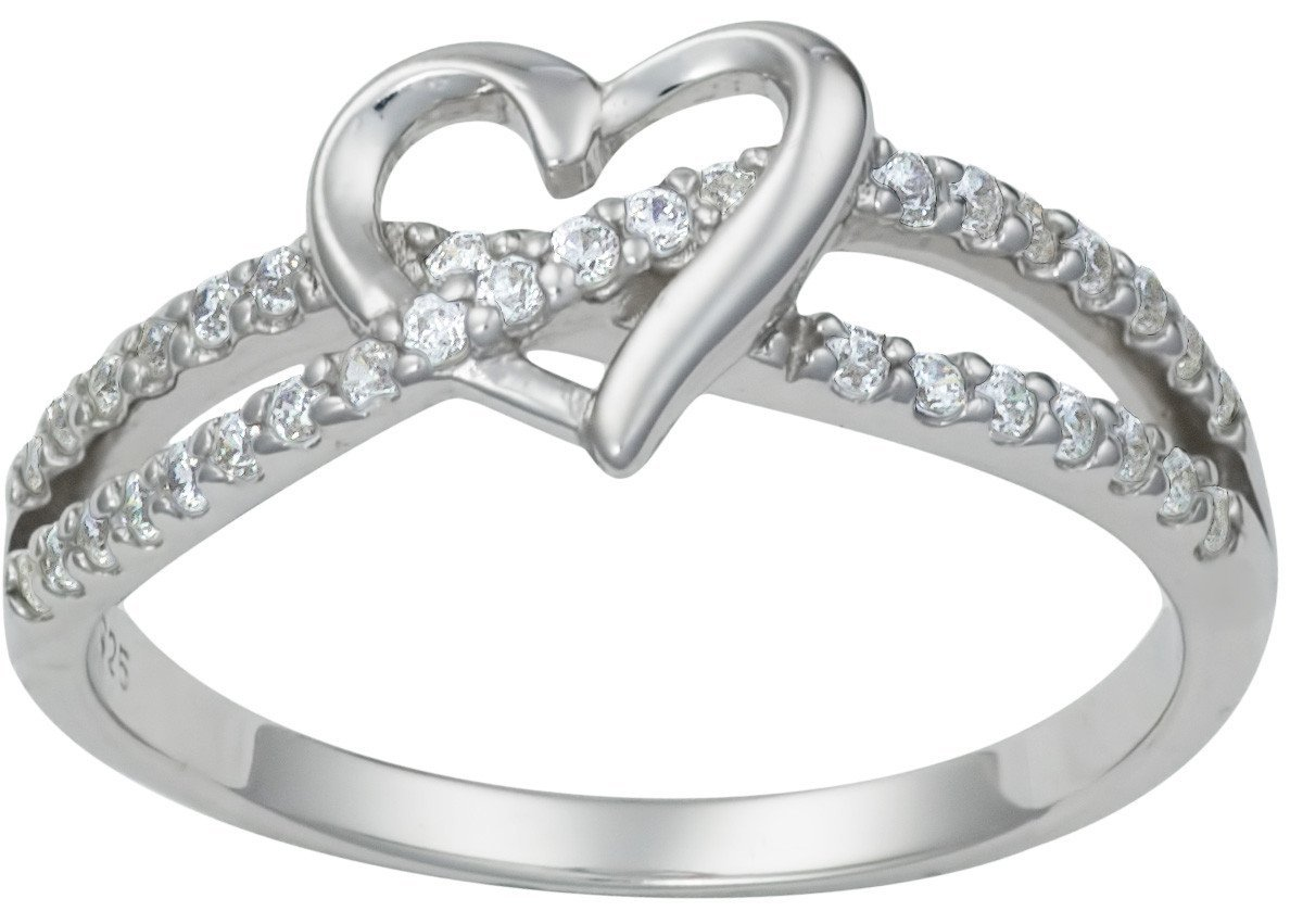 Kinzie Fashion Promise Ring for Her: Sterling Silver Double Twisting CZ Simulated Diamond Heart Promise Ring, Sz 5