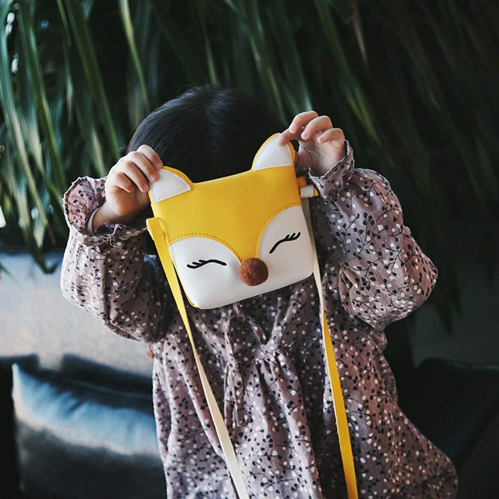 Sac /à Bandouli/ère Fille Renard Sac /à Main en Cuir Princesse Mini-Sacs avec Age 3-12 Ans caf/é fonc/é